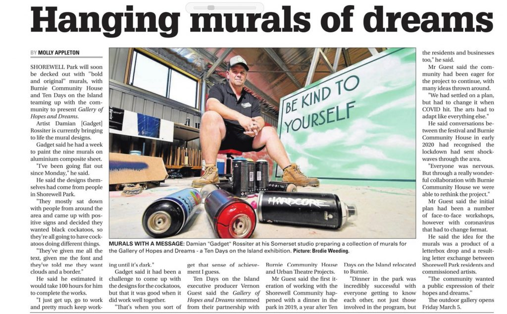 Image of a newspaper article with insert image of mural being prepared for Shorewell Presents.